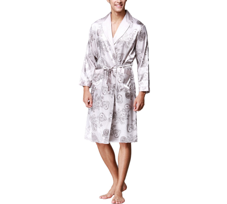 Asskyus Men's Lightweight Satin Sleep Robe Kimono Gown, Bathrobe for Men Long Style