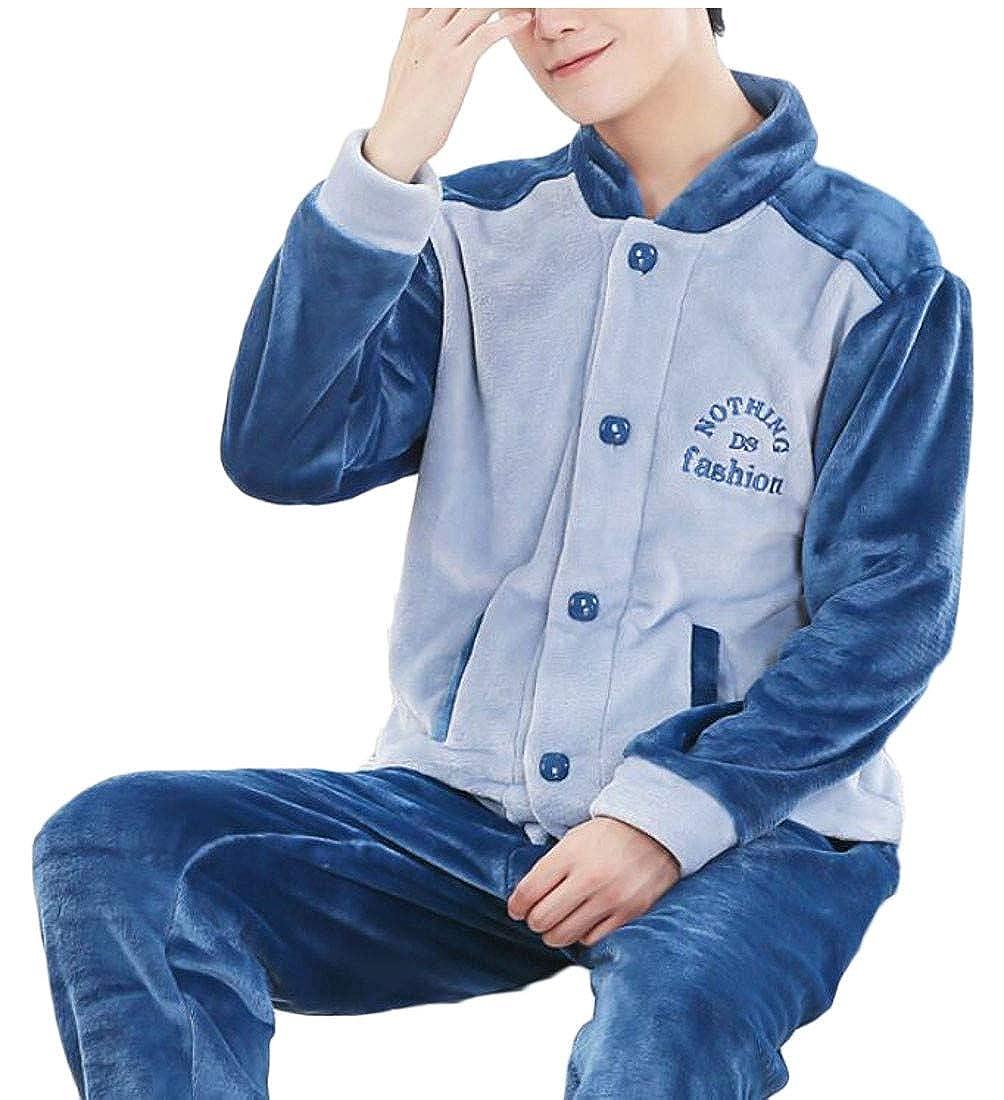 goldenharvest GH Mens Winter Long-Sleeve Sleepwear Thick 2 Piece Flannel Pajama Sets 8 S