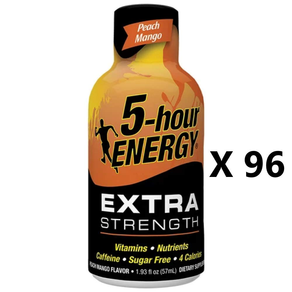 5 Hour Energy Shot Extra Strength Peach Mango- 96 Pack of 2 Ounce Bottles by 5 Hour Energy