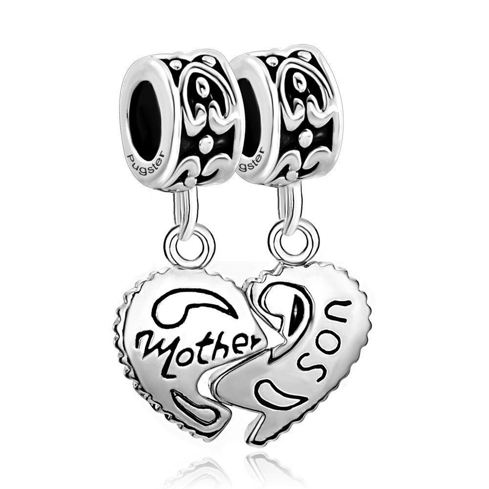 LovelyJewelry Sterling Silver Heart Mom Mother & Son Family Charm Dangle Beads For Bracelet