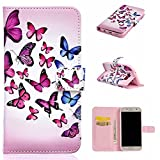 Uming® Relief Embossed Painted Colorful Pattern Print PU case [ Rose butterfly | for Samsung Galaxy S5 I9600 S5Neo ] Artificial-leather Flip Holster with Stand Holder Credit Card Slot Wallet Hasp Magnet Magnetic Button Buckle Shell Protective Mobile Cellphone Case Cover Bag