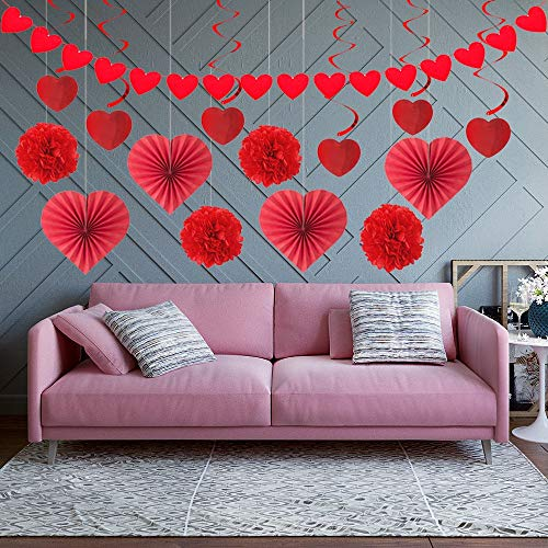 Valentines Day Decor 15 PCS Valentines Decorations Paper Kit-Red Heart Tissue Fans, Paper Pom Poms, Felt Heart Garland…