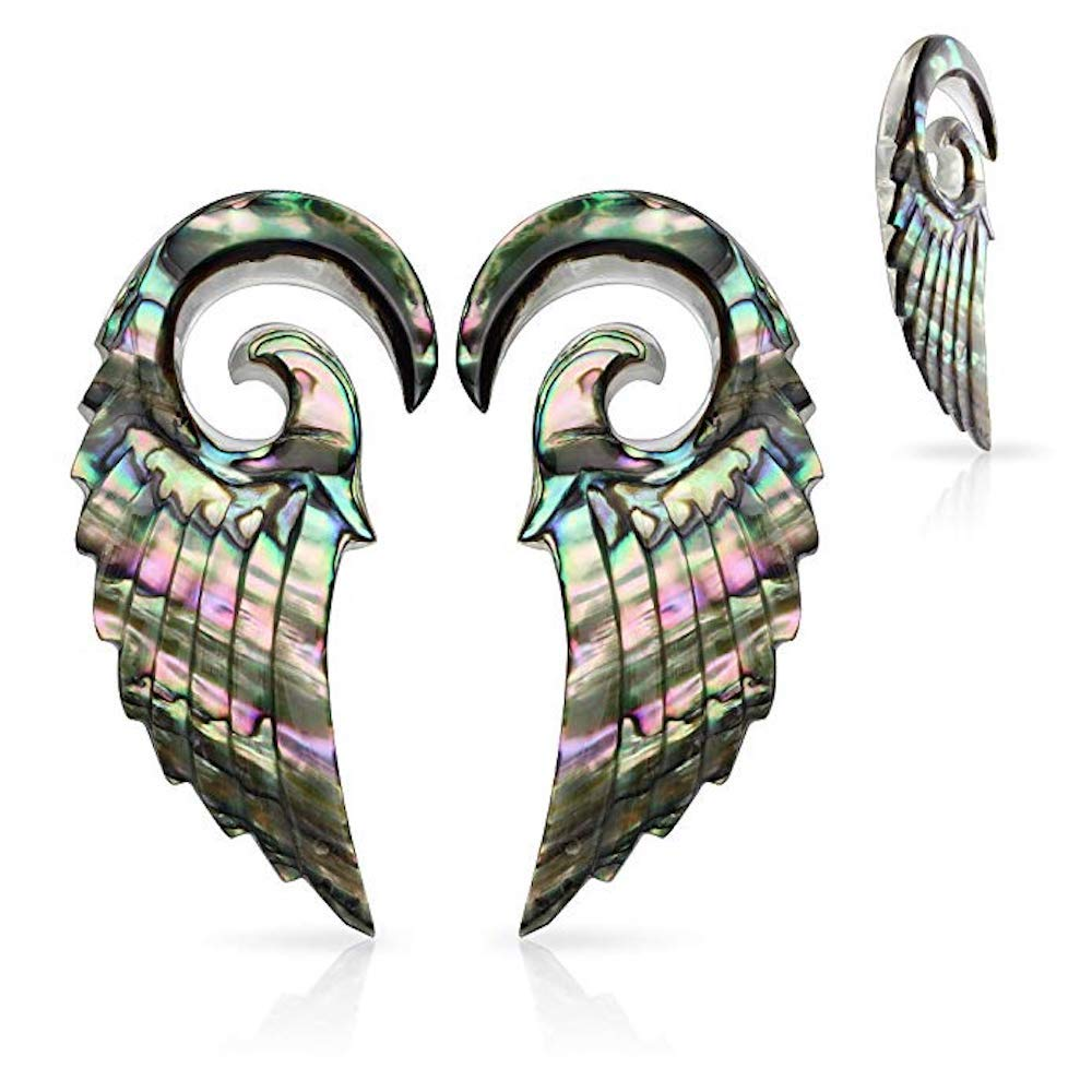 Covet Jewelry Pair of Organic Abalone Angel Wing Spiral Taper (0GA (8mm)) by Covet Jewelry