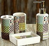 4-Piece Multicolor Ceramic Modern Sophisticated Bathroom Accessory Set   Colorful Tribal Pattern Design   Bathroom Countertop Sink Organizer   Easy To Clean