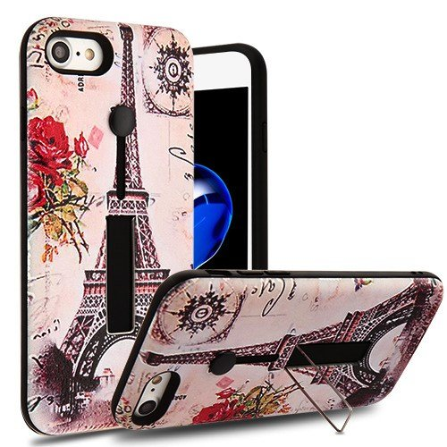 Paris Memory/Black Finger Grip Hybrid Protector Cover (with Silicone Strap & Metal Stand)(with Package) for Apple iPhone - Metal Cover Black