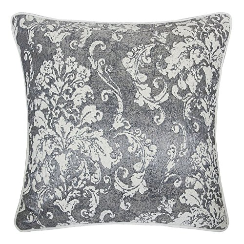 Homey Cozy Chenille Jacquard Throw Pillow Cover,Gray Series Retro Damask Floral Soft Fuzzy Warm Slik Large Sofa Couch Cushion Pillow Case 20 x 20 Inch, Cover Only