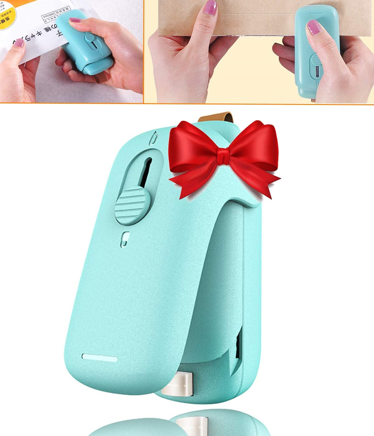 Bag Sealer, 2 in 1 Handheld Heat Plastic Bag Sealer and Cutter Resealer Mini Portable Sealer, Handheld Heat Vacuum Sealers for Plastic Bags Food Storage and Resealing Snack Bags