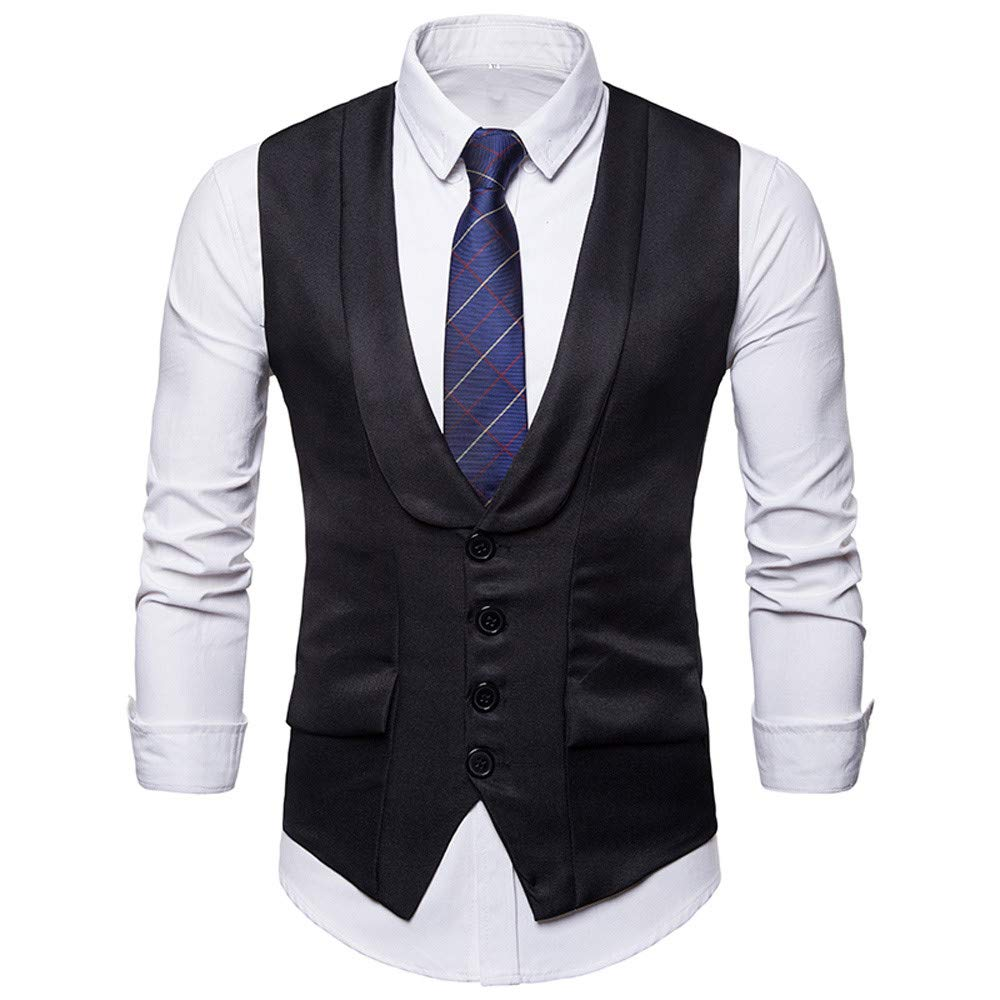 Waistcoat Vest for Men, iOPQO Business Tuxedo Blazer Suits Vest Jacket suit coat