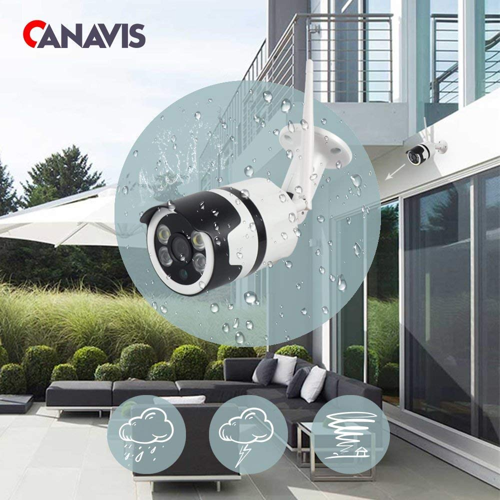 CANAVIS 1080p Wifi Wireless CCTV Bullet Camera System Outdoor 2 LED Light Bulb Camera with IR Night Vision for Home Security
