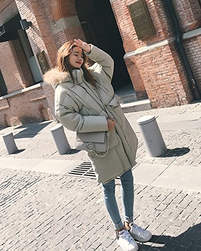 Xuanku Loose Large Size Winter Feathers Cotton Clothing Women In The Long Section Of The Knee Thick Hair Collar Coat Cotton Jacket Bean green
