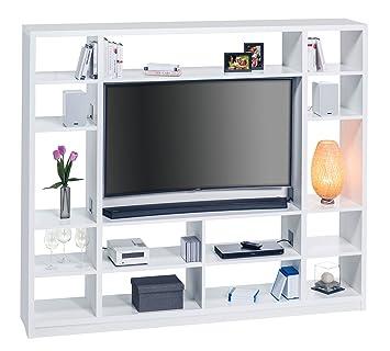 Raumteiler Fernseher raumteiler in weiß mit tv halterung 15 offenen fächern und 7 fächer