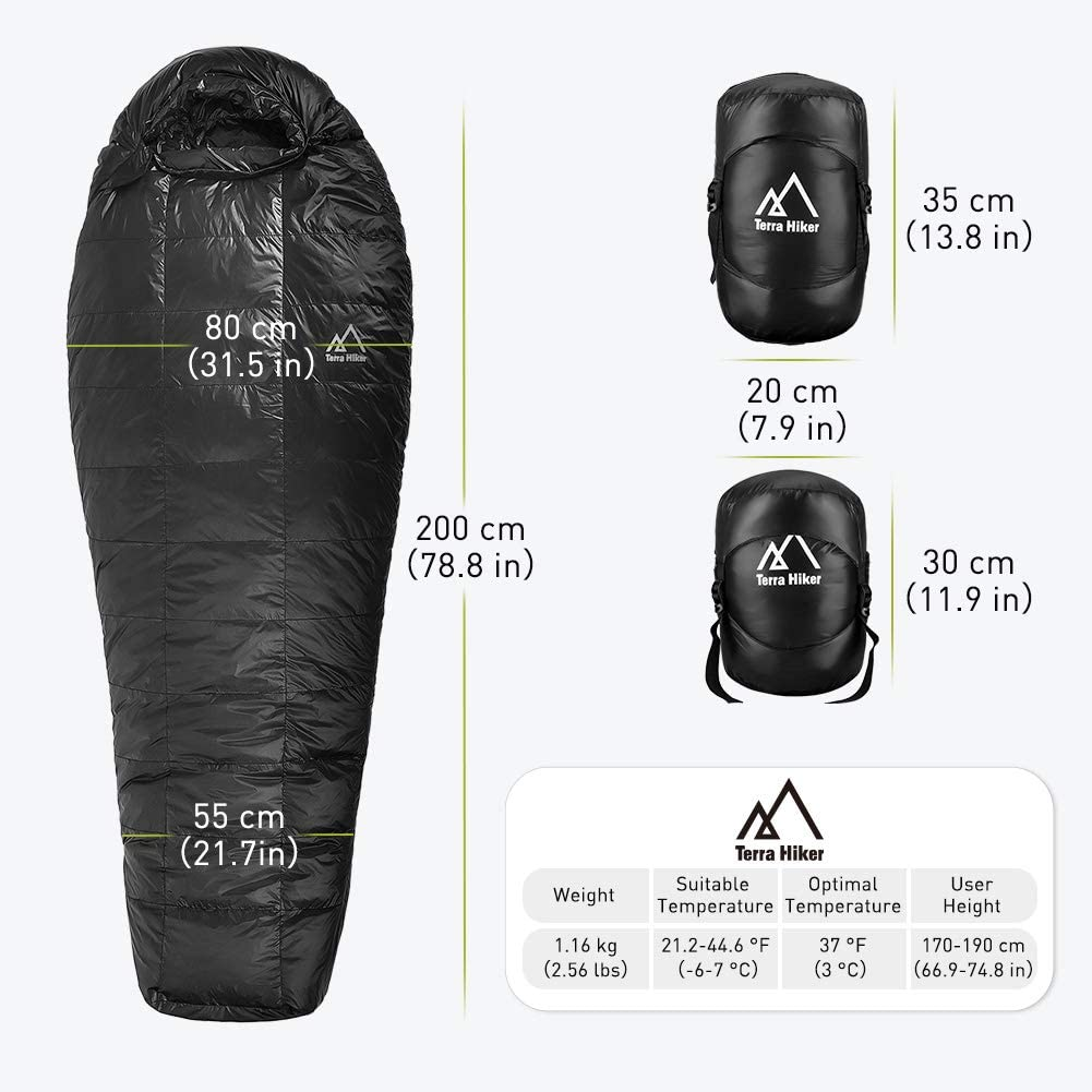 Weighs Only 2.65 lbs 190 cm Max User Height 63 Women Terra Hiker Down Sleeping Bag Lightweight 4-Season Sleeping Bag for Men Outdoor Mummy Bag for Backpacking and Mountaineering