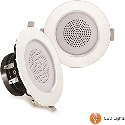 """Pyle PDICLE4 In-Ceiling In-Wall 2-Way 4 Lot of 4/"""" Speakers W// Built-in LEDs"""