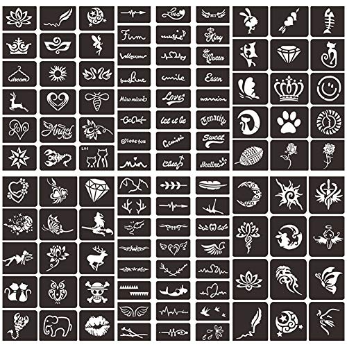 Henna Tattoo Stencils Kit, India Henna Cones Paste Temporary Tattoo Stencils, Glitter Body Face Painting Tattoo Stencils, Self-Adhesive Reusable Henna Tattoo Stencils Stickers (6 Sheets)
