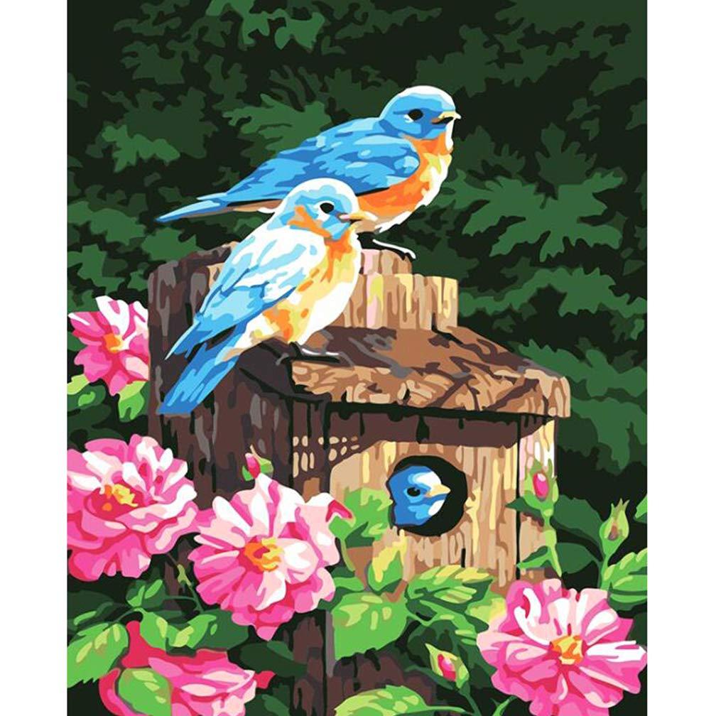 BOHENG Pittura A Olio, Due Uccelli, Digital Fai da Te Pittura, Digitale Abstract Digital Canvas Painting, Soggiorno Muro Arte, Bambino Adulto Natale Regalo di Tela Digitale Set,neroframe