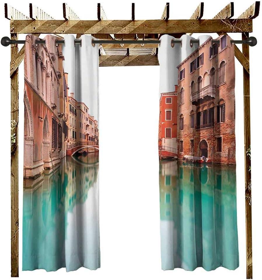 leinuoyi Venecia - Cortina para Exteriores con Ojales, diseño de Ciudad Italiana sobre el Agua, Calles Famosas, Casas, Gondolas, Europa, balcón, Cortinas: Amazon.es: Jardín