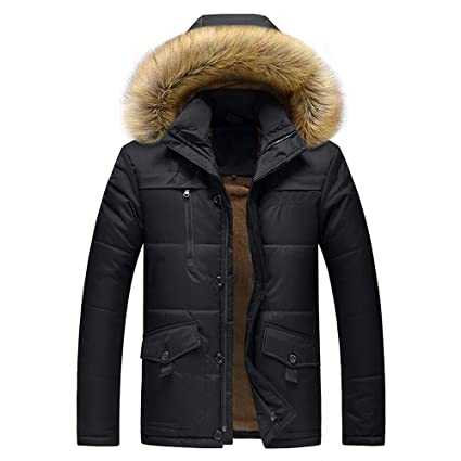 8b1023b64e65a Jacket for Men Winter Casual Fashion Clothing Sale Mens Jackets Waterproof  Windproof Men s Winter Medium Length Zipper Plus Size Thickened Hooded  Cotton ...