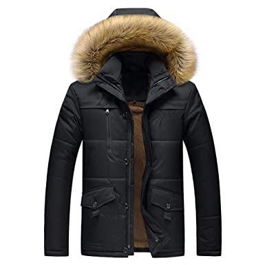 3b53cfd7a3d4 TAGGMY Jacket Men Fashion Winter Warm Plus Size Black Coat with Fur Medium  Length Zipper Thickened