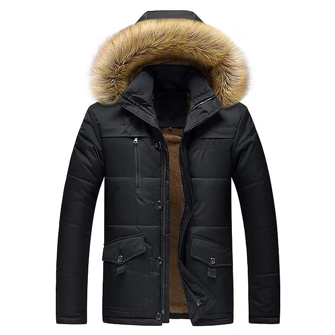 6d5953ca6 Balakie Mens Plus Size Warm Thick Coat Faux Fur Hood Zipper Down ...