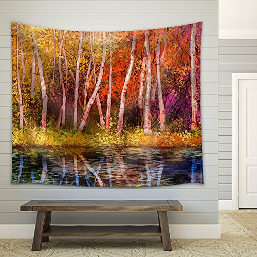 wall26 - Oil Painting Landscape - Colorful Autumn Trees. Semi Abstract Image of Forest - Fabric Wall Tapestry Home Decor - 68x80 inches ()
