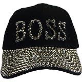 e563826f42635 Something Special BOSS Bling Rhinestone Jewel Adjustable Baseball Cap Hat ( Black)