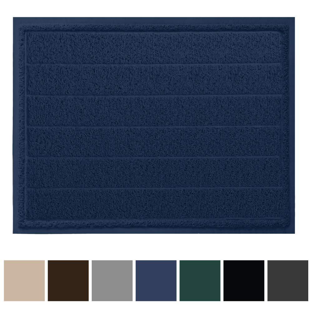 Gorilla Grip Original Durable Indoor Door Mat, 47x35, Large Size, Heavy Duty Doormats, Commercial Waterproof Stripe Doormat, Easy Clean, Low-Profile Mats for Entry, High Traffic Areas, Navy Blue