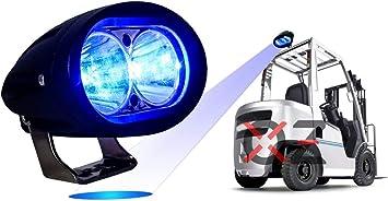 Amazon Com Blue Forklift Led Light Warehouse Safety Warning Lamp Spot Offroad Race 12v 48v Automotive