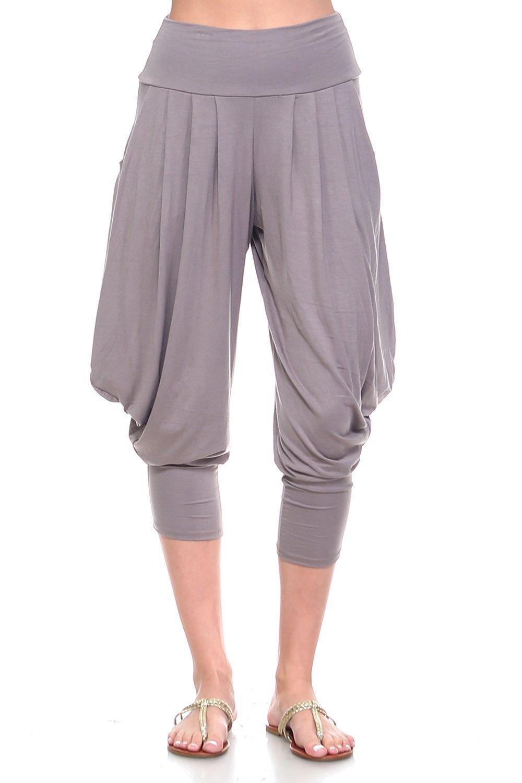 Simplicitie Women's Soft Yoga Sports Dance Harem Pants - Mocha, Large - Made in USA