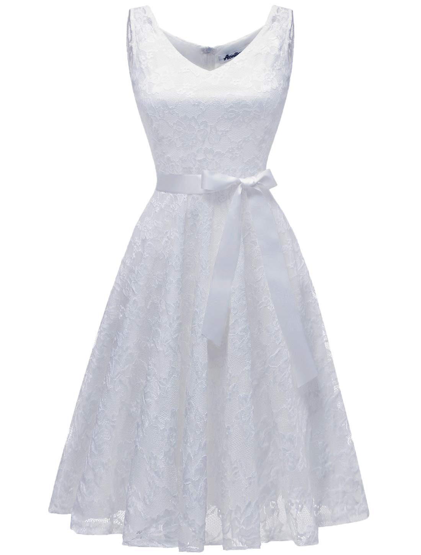 AONOUR AR8008 Women's Floral Lace Cocktail Party Dress Short Prom Dress V Neck White XL