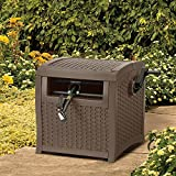 Best Mocha Brown Decorative Woven Resin Construction Lightweight Popular Yard Garden Hose Reel- Huge 225 Foot Hose Capacity With Easy Crank Handle- Smart Trak Hose Guide- The Perfect Garden Accessory