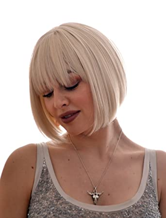 Amazon Com Platinum Blonde Short Bob Hairstyle Wig In The Style
