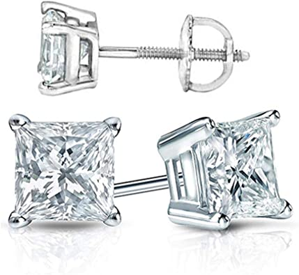 1.75 Ct Round Earrings Studs Solid 18K White Gold Brilliant Cut Screwback Basket