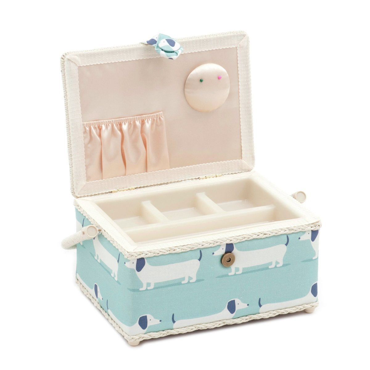 Hobby Gift 'Hound Dog Duck Egg' Medium Rectangle Sewing Box 18.5 x 26 x 15cm (d/w/h)