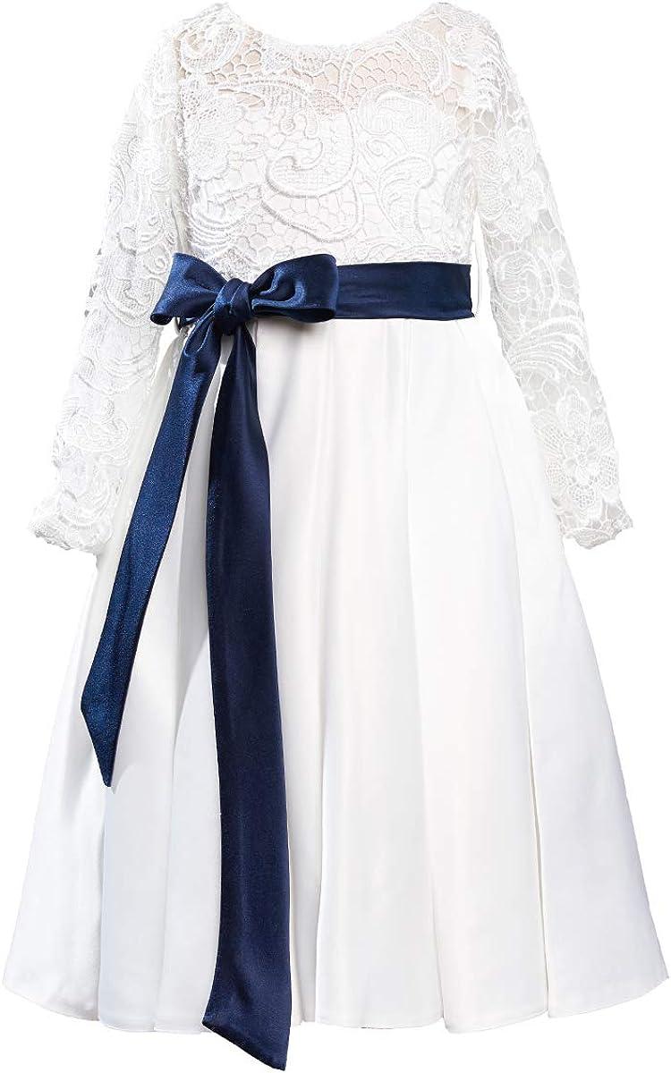 Miama Navy Blue Lace Satin Long Sleeves