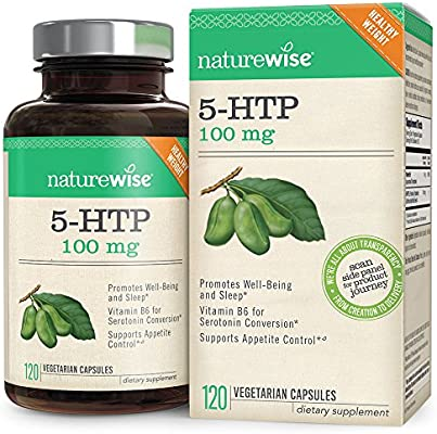 NatureWise 5-HTP 100mg | Natural Mood & Sleep Support | Curbs Appetite to Support Weight Loss | Enhanced with Vitamin B6 | Non-GMO, Gluten Free, Vegetarian (Packaging May Vary) [2 Month - 120 Count]