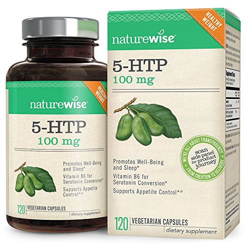 NatureWise 5-HTP 100 mg, Supports Appetite Suppression, Weight Loss, Mood Enhancement, Natural Sleep Aid, Gluten-Free, Vitamin B6, Non-GMO, 120 Vegetarian Capsules (Packaging May Vary) by NatureWise