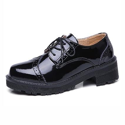Zapatos para mujer HWF Encaje de Estilo británico de Primavera Colegio Ms Negro (Color :