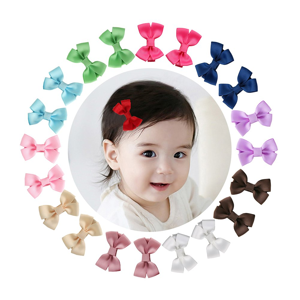 Shemay 10 Pairs 2'' Tiny Boutique Grosgrain Ribbon Hair Bows Alligator Clips Barrettes for Baby Girls Toddlers Kids