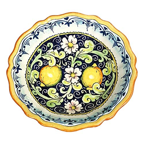 (CERAMICHE D'ARTE PARRINI - Italian Ceramic Art Pottery Serving Bowl Small Centerpieces Hand Painted Decorative Olives Tuscan Made in ITALY)