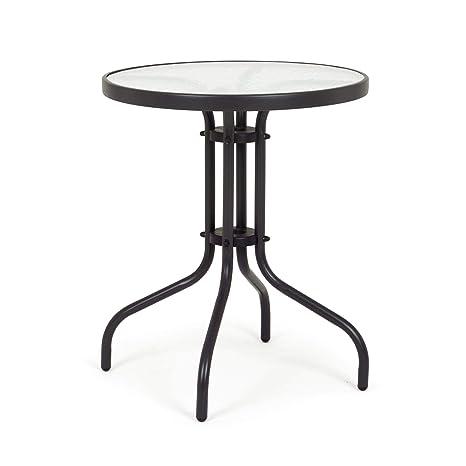 ARREDinITALY Table bistrot Ronde de 60 cm en métal avec ...