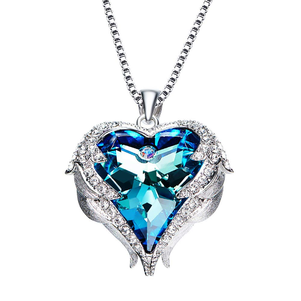 Lavany Women's Necklace Pendant,Luxury Necklace Crystal Heart Pendant Chain for Women (Blue)