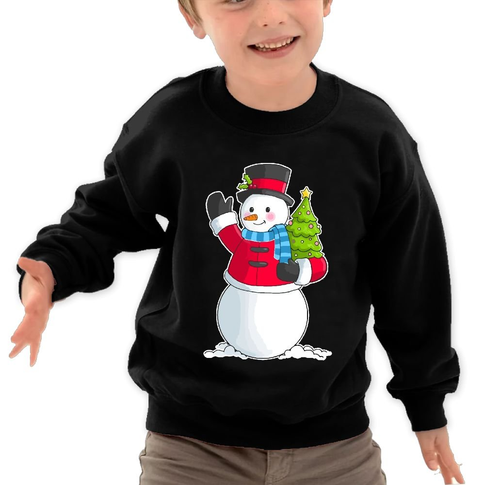 Snowman Holding Christmas Tree Children Cotton Hoody Athletic Long-Sleeves Outerwear