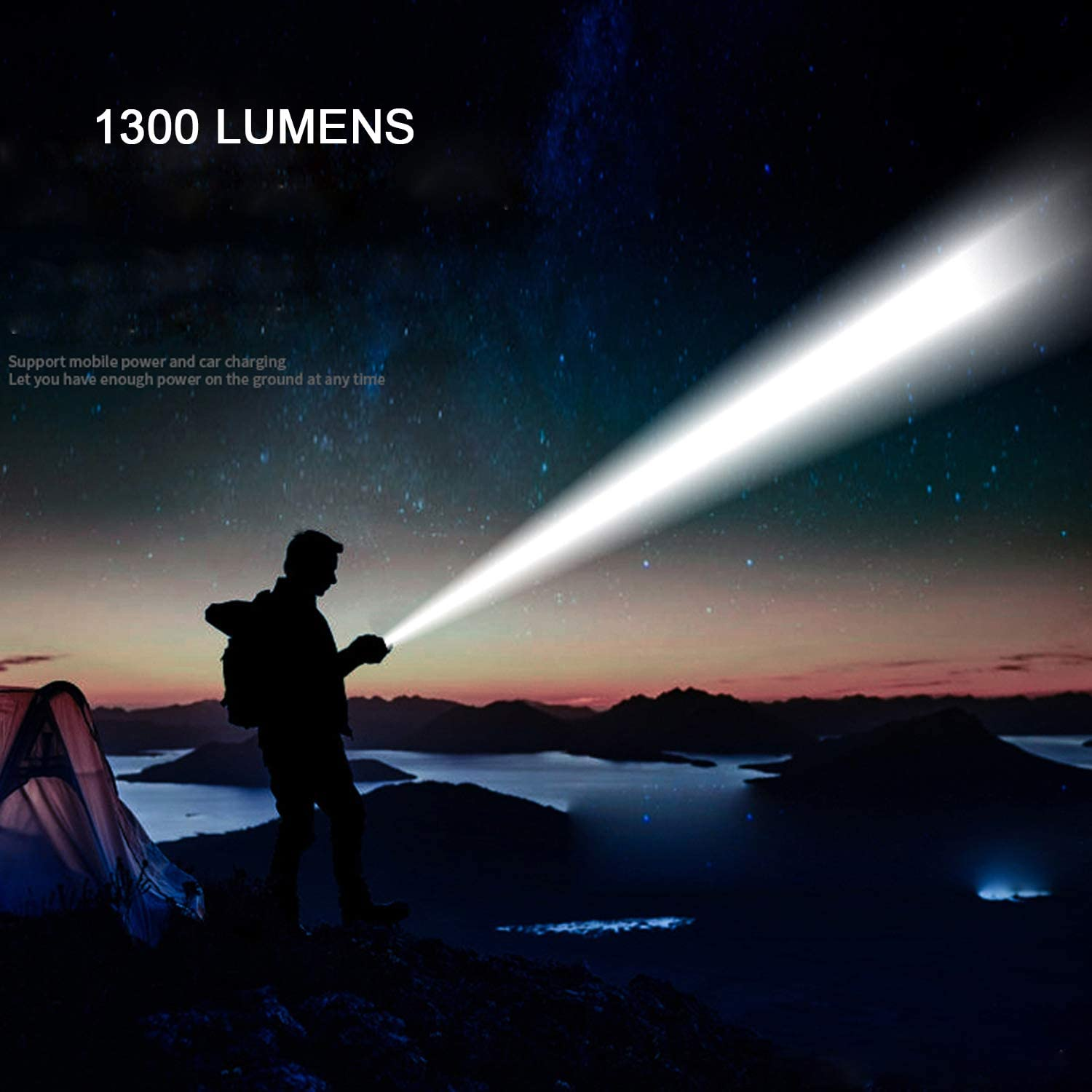Emergency Use Ultra Bright Flashlight with 1300 Lumens 26650 Battery Rechargeable Pocket-Sized LED Tactical Flashlight with CREE LED Security 5 Light Modes for Camping IP65 Waterproof