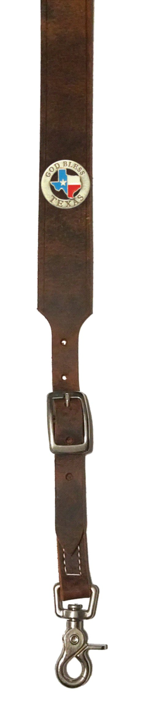 Custom God Bless Texas Leather suspenders in Bay Apache Brown. Made in the USA