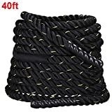 Yaheetech 1.5″ Width 40'/50′ Length FDY Battle Rope Workout Training Undulation Power Training Rope Fitness Rope Exercise Rope Black Review