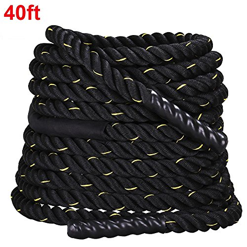 Yaheetech 1.5' Width 40'/50' Length FDY Battle Rope Workout Training Undulation Power Training Rope Fitness Rope Exercise Rope Black