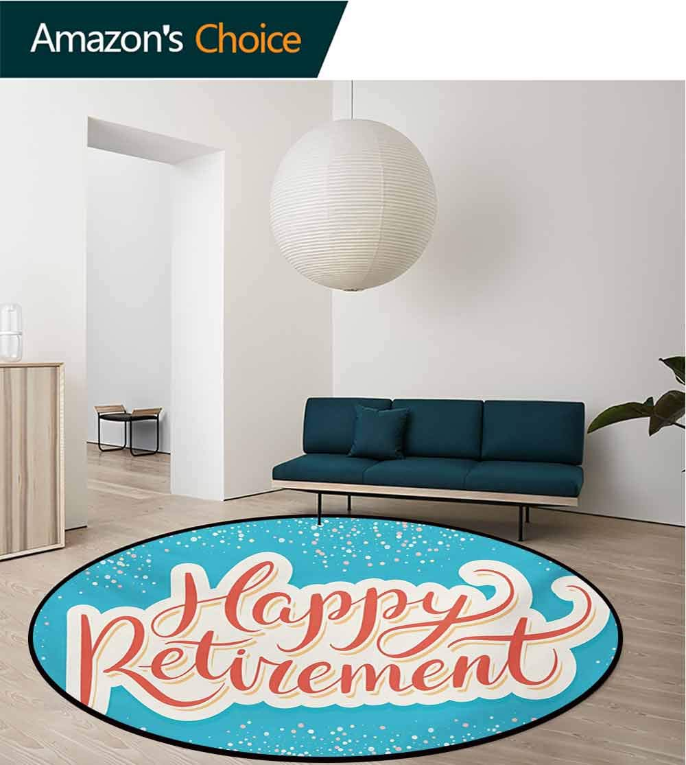 RUGSMAT Going Away Party Non Slip Round Rugs,Happy Retirement Banner Design Hand Lettering Congratulatory Oriental Floor and Carpets,Round-31 Inch Coral White Sky Blue by RUGSMAT (Image #2)