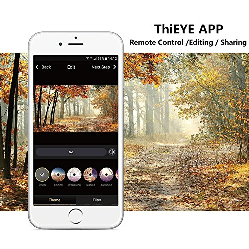 ThiEYE T5e Wifi Sport Camera,Ultra 4K HD16MP Sony Sensor/Ambarella Chipset Action Video Cam Compatible with External Mic,197FT Waterproof,170 Wide Angle,App Control