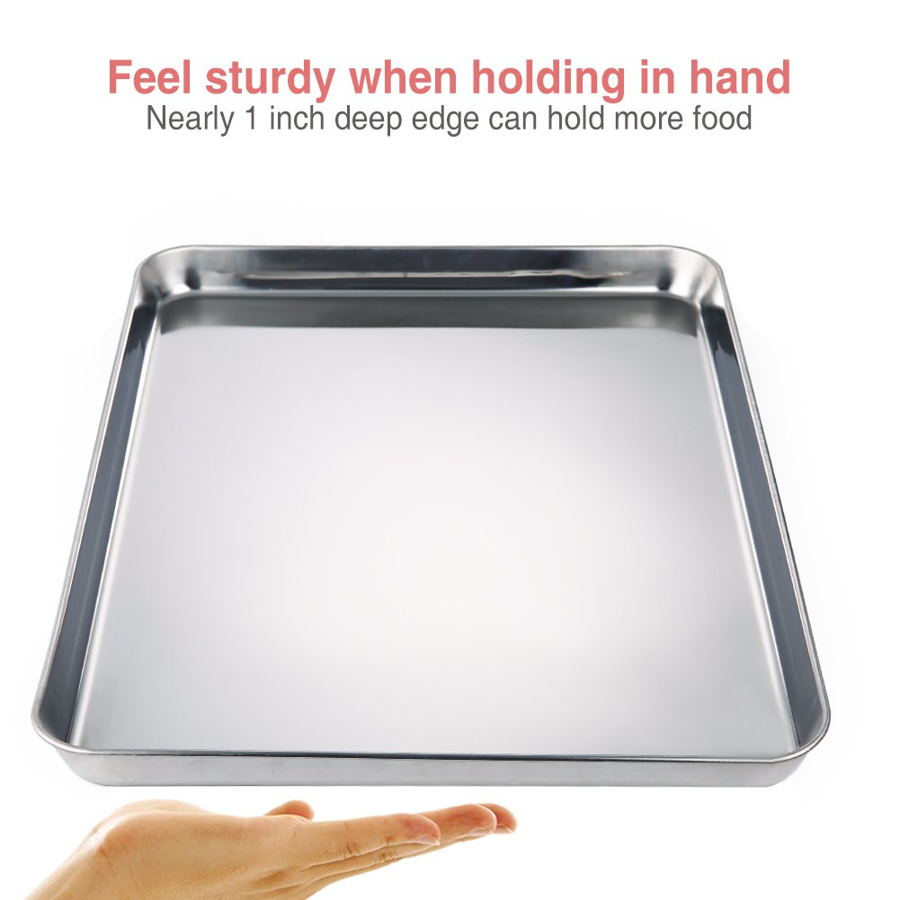 Amazon.com: Fashionwu Square Pan Bakeware Oven Sheet Stainless Steel Heavy baking Sheet Pizza Fries and Tater Tots Nonstick Cooking Pan Tray: Kitchen & ...
