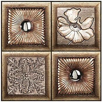 Self Adhesive Decorative Glass Mosaic 3d Print Tile Stickers Peel And Stick Wall Tile Backsplash